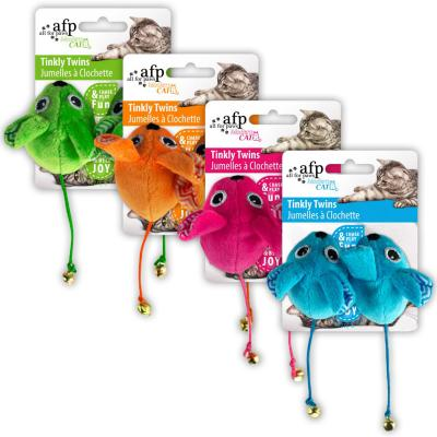 AFP Modern Cat Various Colour Tinkly Twins With Tail Bell Toy For Cats