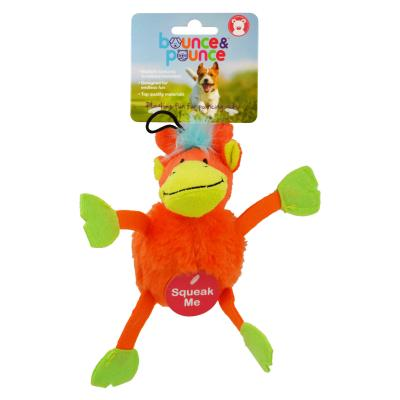 Bounce & Pounce Bright Chubbies Monkey Plush Squeak Toy Small For Dogs