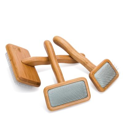 True Love Grooming Arc Stainless Steel Pin Bamboo Slicker Brush Medium For Cats And Dogs