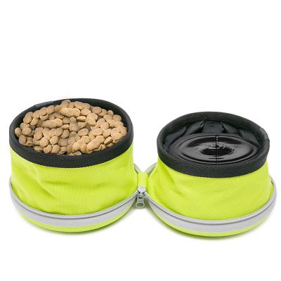 True Love Essence Food And Water Double Travel Bowl Yellow For Dogs