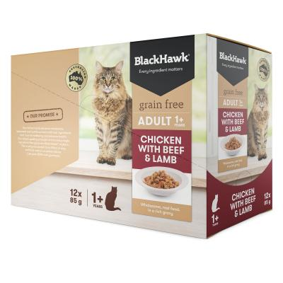 Black Hawk Grain Free Adult Chicken With Beef And Lamb In Rich Gravy Pouches Wet Cat Food 85gm x 12