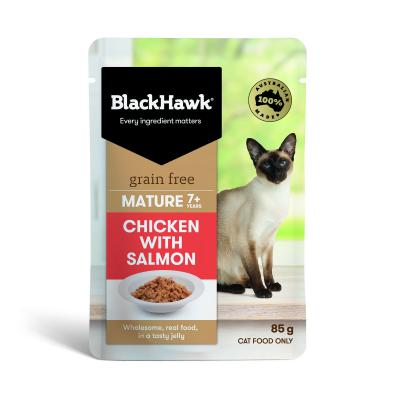 Black Hawk Grain Free Mature Chicken With Salmon In Jelly Pouches Wet Cat Food 85gm x 12