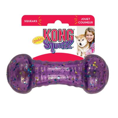 KONG Squeezz Confetti Dumbbell Squeak Bounce And Fetch Assorted Colour Medium Toy For Dogs
