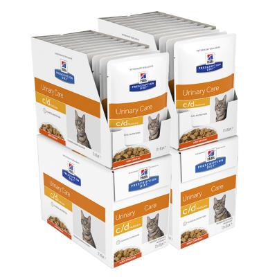 Hills Prescription Diet Feline c/d Urinary Care Multicare Chicken Pouches Wet Cat Food 85gm x 48 (3406LN)