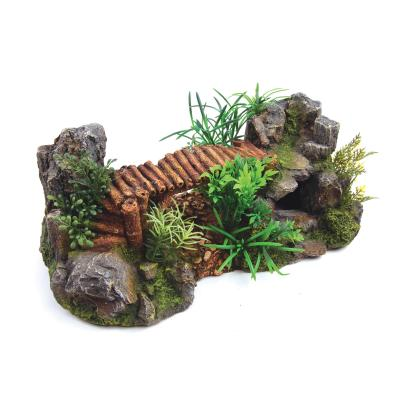Kazoo Aquarium Bamboo Bridge With Plants Large Ornament For Fish Tank