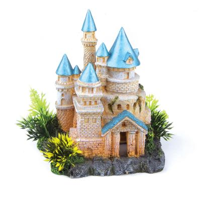Kazoo Aquarium Castle With Plants And Blue Roof Small Ornament For Fish Tank