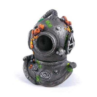 Kazoo Aquarium Divers Helmet With Air Flow Medium Ornament For Fish Tank