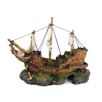 Kazoo Aquarium Galleon Ship With Sails Medium Ornament For Fish Tank