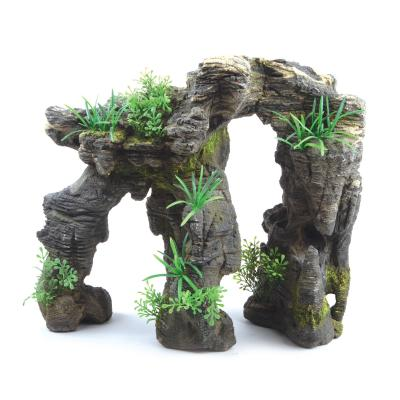 Kazoo Aquarium Greystone Arch With Plants Large Ornament For Fish Tank
