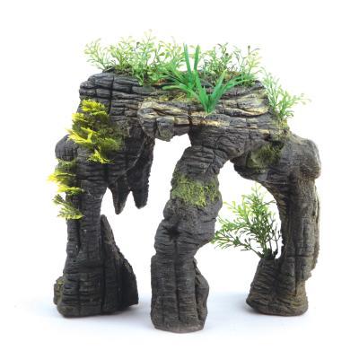 Kazoo Aquarium Greystone Arch With Plants Medium Ornament For Fish Tank