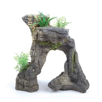 Kazoo Aquarium Greystone Arch With Plants Small Ornament For Fish Tank
