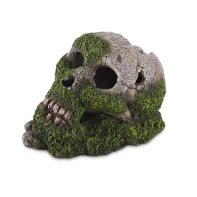 Kazoo Aquarium Skull With Moss And Air Medium Ornament For Fish Tank