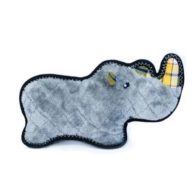 Zippy Paws Z-Stitch Grunterz Ronny The Black Rhino Plush Squeak Toy For Dogs