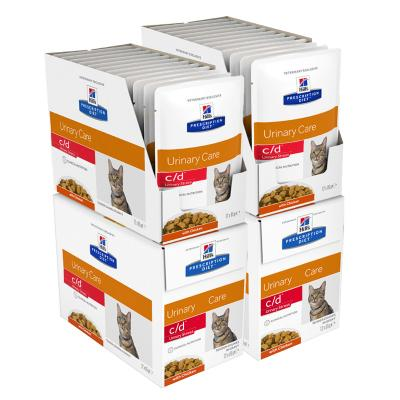 Hills Prescription Diet Feline c/d Urinary Care Multicare Stress Chicken Pouches Wet Cat Food 85gm x 48