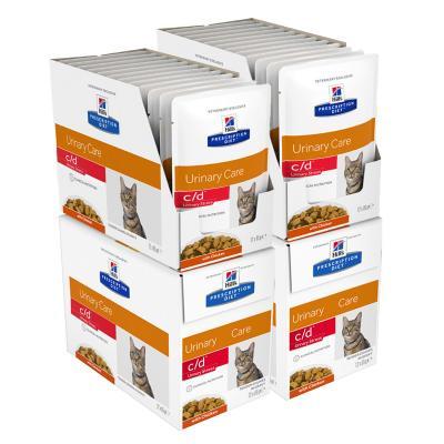 Hills Prescription Diet Feline c/d Urinary Care Multicare Stress Chicken Pouches Wet Cat Food 85gm x 48