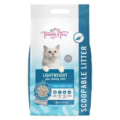 Trouble & Trix Lightweight Plus Baking Soda Scoopable Clumping Litter Floral Scent For Cats 15L 8.5kg