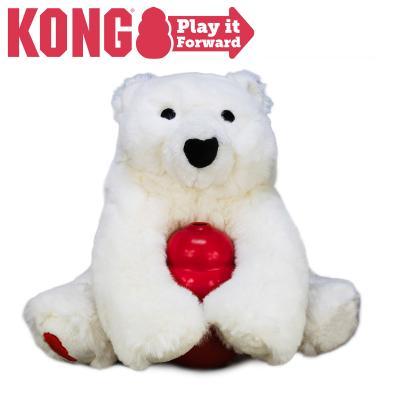 KONG Classic Play It Forward Christmas Polar Bear Medium Toy For Dogs