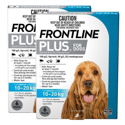 Frontline Plus For Dogs Medium 10-20kg 12 Pack