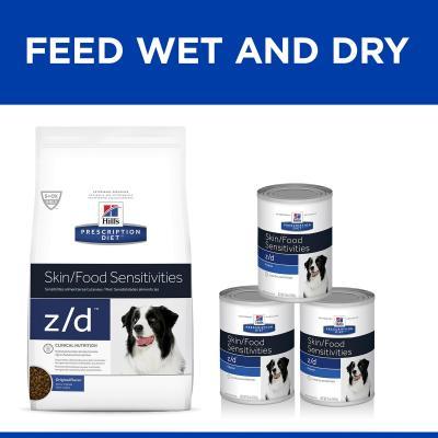 Hills Prescription Diet Canine z/d Skin/Food Sensitivity Original Canned Wet Dog Food 370gm x 12 (7018)