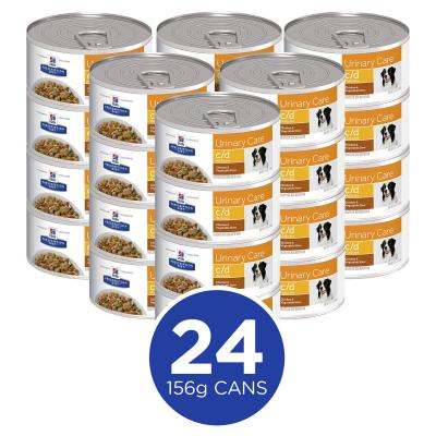 Hills Prescription Diet Canine c/d Urinary Care Multicare Chick & Vegetable Stew Canned Wet Dog Food 156gm x 24 (3388)
