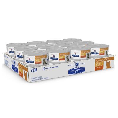 Hills Prescription Diet Feline c/d Urinary Care Multicare Chicken Canned Wet Cat Food 156gm x 24 (6238)