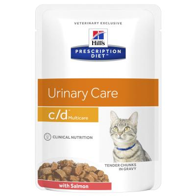 Hills Prescription Diet Feline c/d Urinary Care Multicare Salmon Pouches Wet Cat Food 85gm x 48 (3408LN)