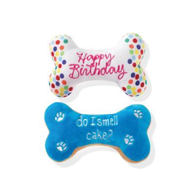 Prestige Snuggle Buddies Birthday Bone Cookie Plush Squeak Toys For Dogs 2 Pack