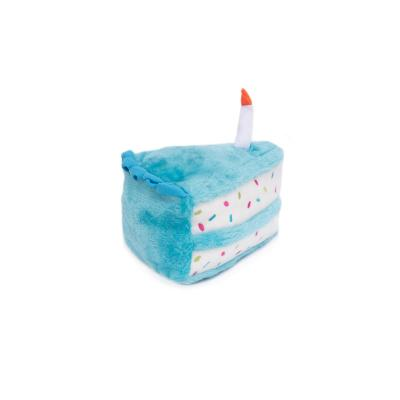 Zippy Paws NomNomz Birthday Cake Blue Plush Squeak Toy For Dogs
