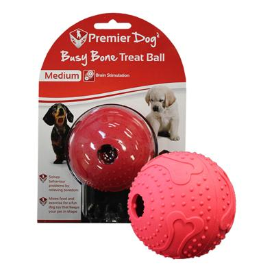 Premier Dog Busy Bone Maze Treat Dispenser Ball Medium Red Toy For Dogs