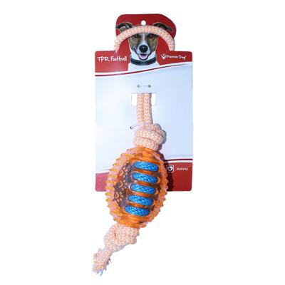Premier Dog TPR Football With Rope Orange Toy For Dogs
