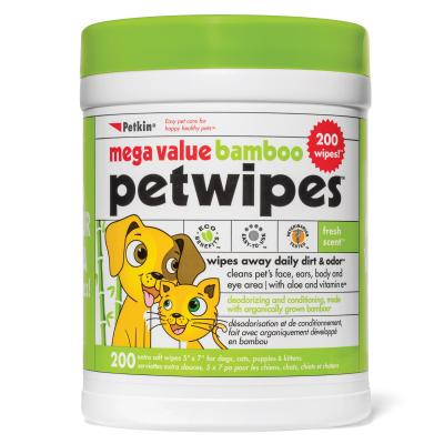 Petkin Mega Value Bamboo Eco Pet Wipes For Dogs And Cats 200 Pack