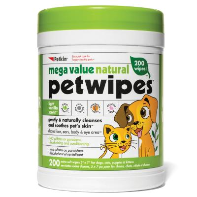 Petkin Mega Value Natural Pet Wipes For Dogs And Cats 200 Pack