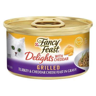 Fancy Feast Delights With Cheddar Grilled Turkey And Cheese Feast In Gravy Canned Wet Cat Food 85g x 48