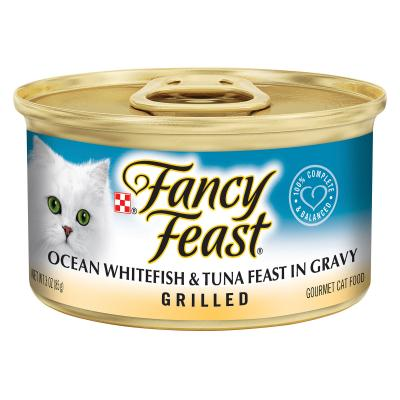 Fancy Feast Grilled Ocean Whitefish And Tuna In Gravy Adult Canned Wet Cat Food 85g x 48