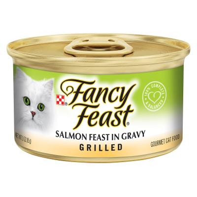 Fancy Feast Grilled Salmon Feast In Gravy Adult Canned Wet Cat Food 85g x 24