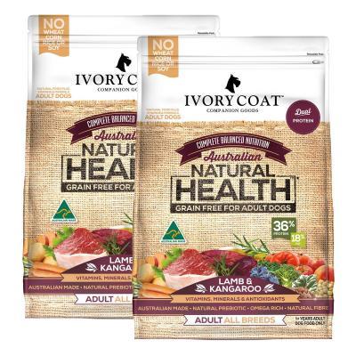 Ivory Coat Natural Health Grain Free Lamb And Kangaroo Adult Dry Dog Food 26kg