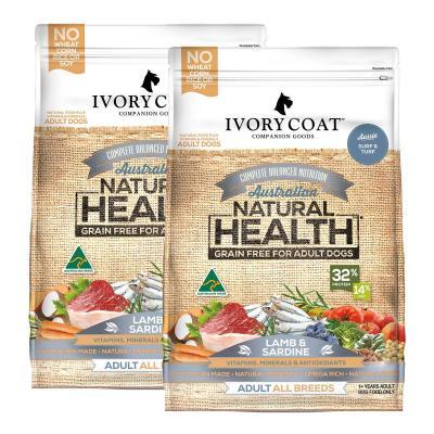 Ivory Coat Natural Health Grain Free Lamb And Sardine Adult Dry Dog Food 26kg