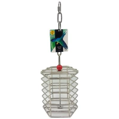 Creative Foraging Systems Stainless Steel Parrot Baffle Cage XLarge Treat Food Puzzle Toy For XLarge Parrot And Cockatoo Birds