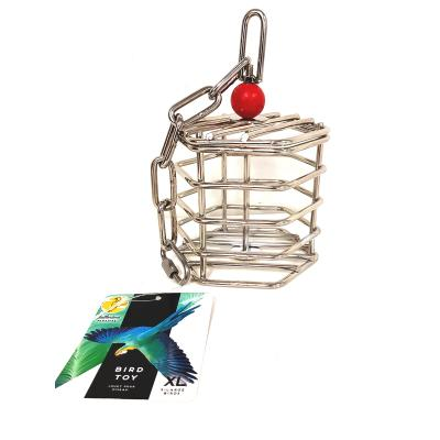 Creative Foraging Systems Stainless Steel Parrot Baffle Cage Large Treat Food Puzzle Toy For Medium To Large Parrot And Cockatoo Birds
