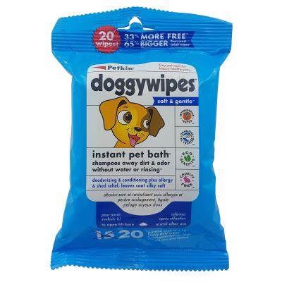 Petkin Jumbo Doggy Wipes Soft And Gentle For Dogs 20 Pack