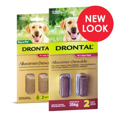 Drontal Allwormer For Dogs Large Up To 35kg 2 Chews