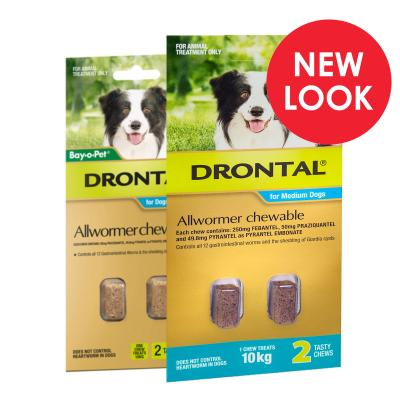 Drontal Allwormer For Dogs Medium 3-10kg 2 Chews