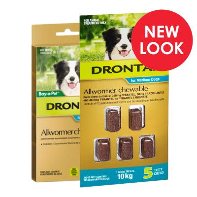 Drontal Allwormer For Dogs Medium 3-10kg 5 Chews