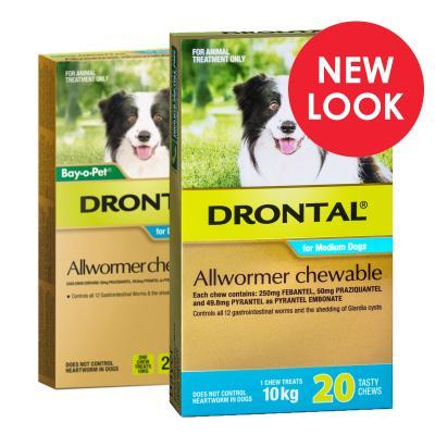 Drontal Allwormer For Dogs Medium 3-10kg 20 Chews