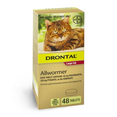 Drontal Allwormer For Cats New Easy Dose Shape 6kg 48 Tablets