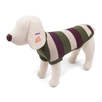 Kazoo Staffy Jumper Striped Dog Coat Olive/Brown Small 40cm