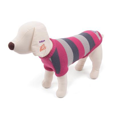 Kazoo Staffy Jumper Striped Dog Coat Pink/Grey Small 40cm
