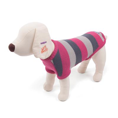 Kazoo Jumper Striped For Broad Chested Dog Coat Pink/Grey XSmall 33cm