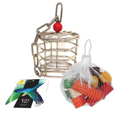 Creative Foraging Systems Stainless Steel Baffle Cage Large Treat Food Puzzle Toy With Wooden Chew Refill Large For Parrot And Cockatoo Birds