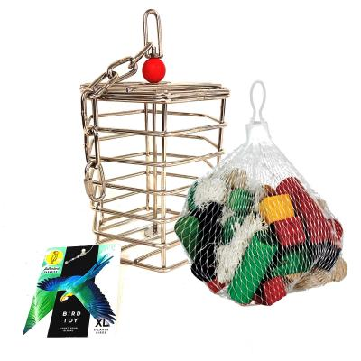 Creative Foraging Systems Stainless Steel Baffle Cage XL Treat Food Puzzle Toy With Baffle Cage Wooden Chew Refill XL For Parrot And Cockatoo Birds